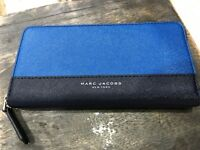 Marc Jacobs Continental Z/A Clutch Wallet in Indigo Blue Multi Saffiano $150