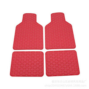 4x Wine Red Universal Waterproof Non-slip Carpet Leather Interior Floor Car Mat