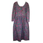 Vintage Komil Hawaii Cottagecore Midi Dress Womens Size S Purple Floral