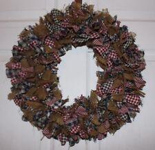 Burgundy, Hunter Green Navy Blue And  Burlap homespun primitive  rag wreath