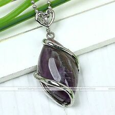 Natural Amethyst Gemstone Horse Eye Silver Wrap Bead Pendant For Women Necklace