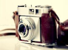 Fotografia VECCHIA Vintage Retrò antico Fotocamera Rosso Argento art print poster mp3994a