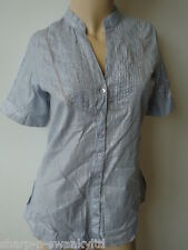 RIVER ISLAND Ladies Blue/Silver Striped Beaded Shirt Blouse Top UK 8 EU 34