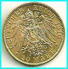 GERMANY - 1910 - A - GOLD 20 MARK - PREUSSEN  B.U !! ,