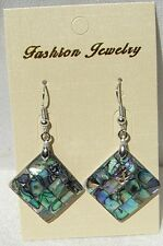 Abalone-Paua Shell Inlay Earrings Backed with Mother of Pearl, Free Shipping!