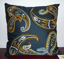 Noble Excellence FONTANA Linen Cotton Decorative Accent Pillow Paisley NAVY GOLD