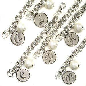 John Wind Sorority Gal Bracelet Silver Cotton Ball Monogram Initial Maximal Art