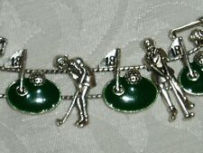 Charms on 2 strand Slide Bracelet Cute Golf Charm Bracelet, w/16 Golf