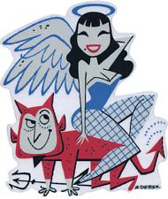 Salvation Damnation STICKER Decal Angel Girl Devil Pitchfork Derek Yaniger DY56