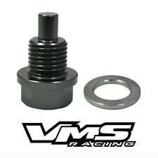 VMS RACING GUNMETAL MAGNETIC OIL PAN DRAIN PLUG BOLT W/ CRUSH WASHER FOR SUBARU