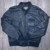 Vintage Members Only Leather Bomber Jacket Mens XL Blue Full Zip Moto Cafe Racer