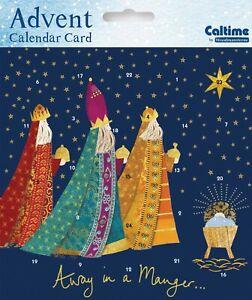 Advent Calendar Greeting Card & envelope Christmas Yonder Star Away in a Manger