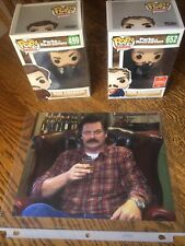 Ron Swanson Signed Picture & 2 Funko Pops -Parks and Rec TV Show - Nick Offerman