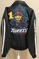 Tweety Racing Leather Jacket L Black Bomber 100% Leather Looney Tunes 1998