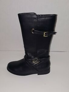 Michael Kors Emma Louise Black/Gold Girl's Riding Boots,Youth US Size 2