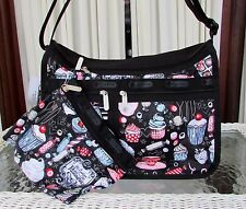 LeSportsac Deluxe Everyday Cupcakes Sweet Treats Crossbody Bag & Pouch Black NWT