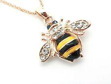 Bumblebee APE rosa placcato oro cristallo pendente da donna da donna collana