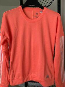 NWT Adidas Womens Response Crew Long Sleeve Sweat Shirts $50 Hi-Res Coral S/M/L