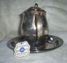 F B ROGERS SILVER CO. PAUL REVERE REPRODUCTION  #1053 SAUCER & CREAMER WITH LID