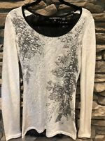 Miss Me Womens Size M Embellished Long Sleeve Knit Shirt Top NWOT