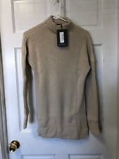 Pretty Little Thing Stone High Neck Oversized Jumper Sweater Size US 2 NWT