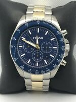 Fossil BQ2266 Men's Stainless Steel Analog Blue Dial Quartz Genuine Watch OP514