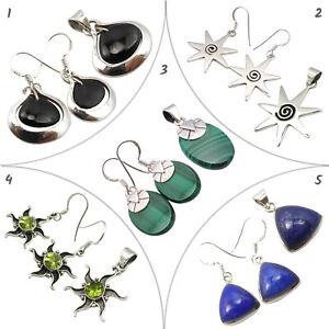 925 Silver Brand New Set Earrings Pendants Real MALACHITE Jewelry Wholesale Lot
