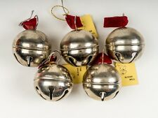 Lot of 5 Vintage Steel Metal Sleigh Bells Christmas Ornaments Decoration Taiwan