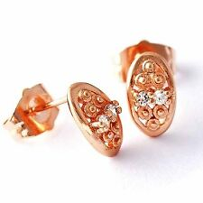 womens/girls Rose Gold Filled Oval jewelry crystal Stud Earrings free shipping