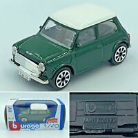 Bburago Street Fire Mini Cooper Racing Green Diecast Car 1:43 Metal & Plastic