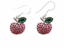 Apple Crystal Fashion Earrings Jewelry Teacher Appreciation Gift