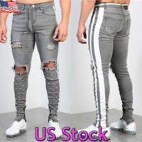 Men Skinny Knee Ripped Hole Jeans Side Striped Denim Pants Casual Biker Trousers