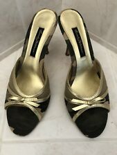 a32b77bf7d1a Stunning BEVERLY FELDMAN Camouflage And Gold Heel Sandals With Gold Trim Sz  9m