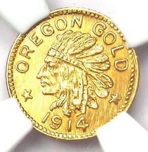 1914 Oregon Gold 25 Cent Coin 25C - Certified NGC MS65 (Gem BU UNC) - Rare!