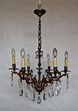 Lustre 6 branches en bronze et cristal de belle qualité