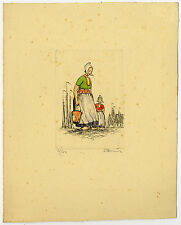Print-DUTCH COSTUME-TRADITIONAL-HARBOUR-VOLENDAM-Smit (?)-ca. 1950