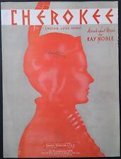 "1938 ""CHEROKEE (INDIAN LOVE SONG)"" SHEET MUSIC - WESTERN AMERICANA ART COVER"