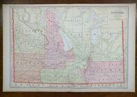 "Vintage 1900 MANITOBA CANADA Atlas Map 22""x14"" Old Antique WINNIPEG HOLLAND"