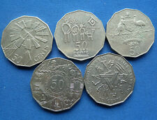 5 COLLECTABLE AUSTRALIAN 50 CENT COINS
