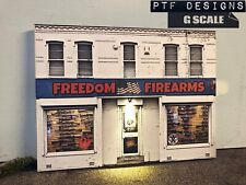 "G Scale Scratch Built ""FREEDOM FIREARMS"" 🇺🇸🔫 GUN SHOP Building Flat wLED 1/24"