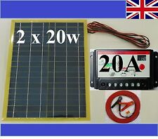 40w (2x 20w) Solar Panel + 20A 12v 24v Battery Charger +8m cable c/w fuse & clip