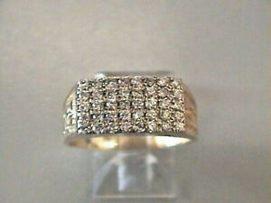 10k Solid Yellow and white Gold Pave setting 40 Diamonds Men`s Ring