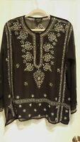 Baba LA Black Sheer Sequin Floral Tunic Blouse Women's M-Large Rayon Pullover