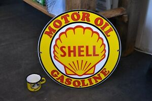 PLAQUE EMAILLEE SHELL 30cm enamel sign