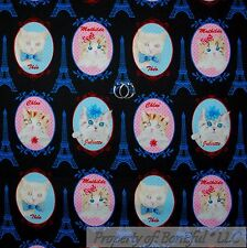 BonEful FABRIC FQ Cotton Quilt Black Pink Blue Kitty CAT French Name Word Girl L