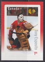 Canada #2874 Great Canadian NHL Goalies Tony Esposito Souvenir Sheet MNH