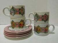 Mary Engelbreit 4 plates and 4 cups Sakura home Garden Time