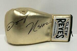 Julio Cesar Chavez And Oscar De La Hoya Signed Gold Cleto Reyes Boxing Glove PSA