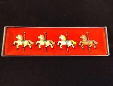 """ENESCO CAROUSEL HORSES Set of 4 Christmas Ornaments Vtg 1982 HTF 2¼"""" tall Boxed"""