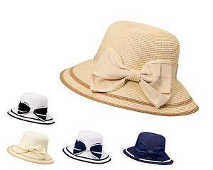 Miuno® Damen Strohhut Sonnenhut Sommer Glocke Hut mit Schleife H51050